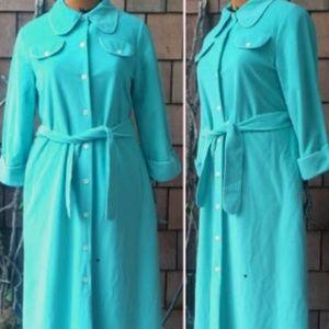 Vintage 80s Vassarette Velour Aqua Robe New w/tags